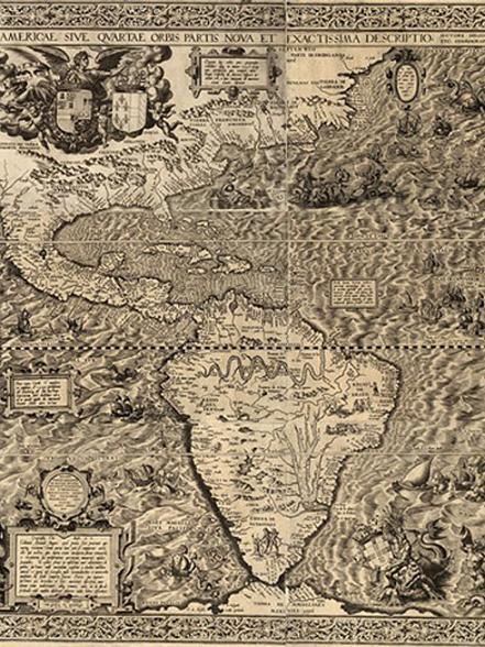 Карта Южной и Северной Америки в Архиве Индий