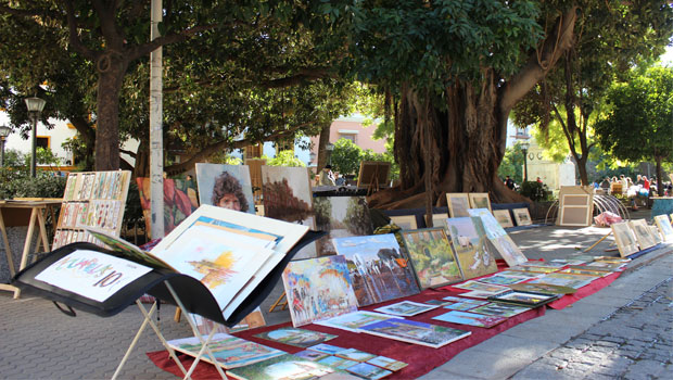 Plaza-del-museo картины и деревья