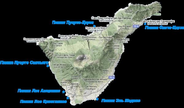 Пляжи Тенерифе на карте